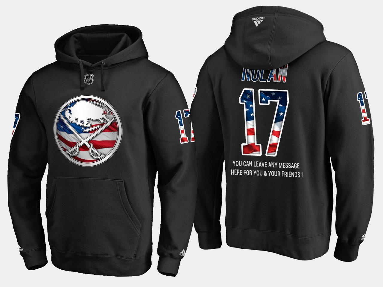 Sabres #17 Jordan Nolan NHL Banner Wave Usa Flag Black Hoodie