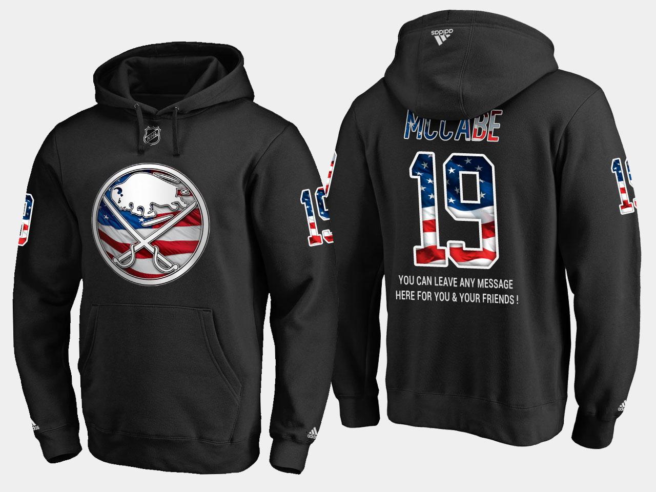 Sabres #19 Jake Mccabe NHL Banner Wave Usa Flag Black Hoodie
