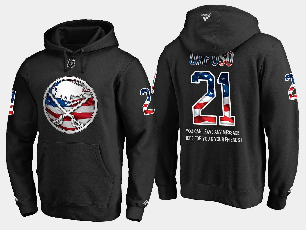 Sabres #21 Kyle Okposo NHL Banner Wave Usa Flag Black Hoodie