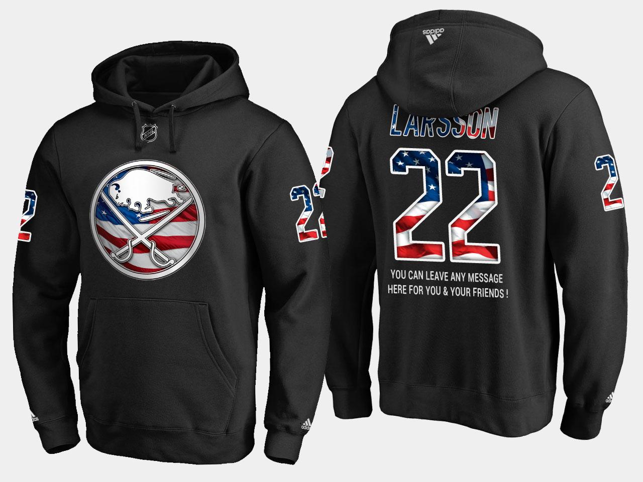 Sabres #22 Johan Larsson NHL Banner Wave Usa Flag Black Hoodie