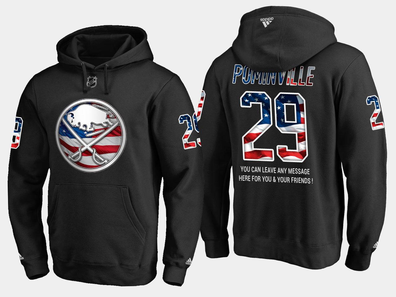 Sabres #29 Jason Pominville NHL Banner Wave Usa Flag Black Hoodie