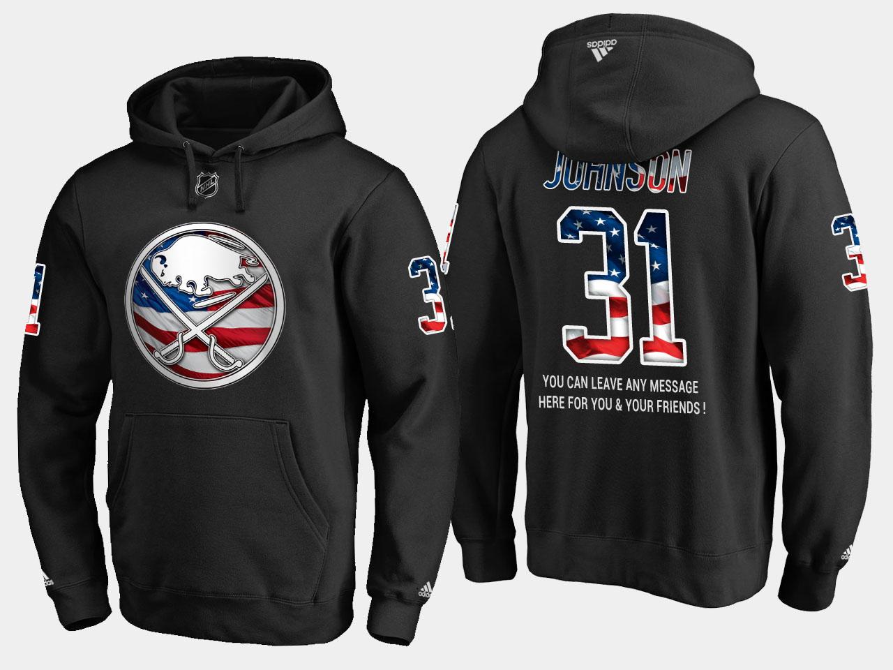 Sabres #31 Chad Johnson NHL Banner Wave Usa Flag Black Hoodie