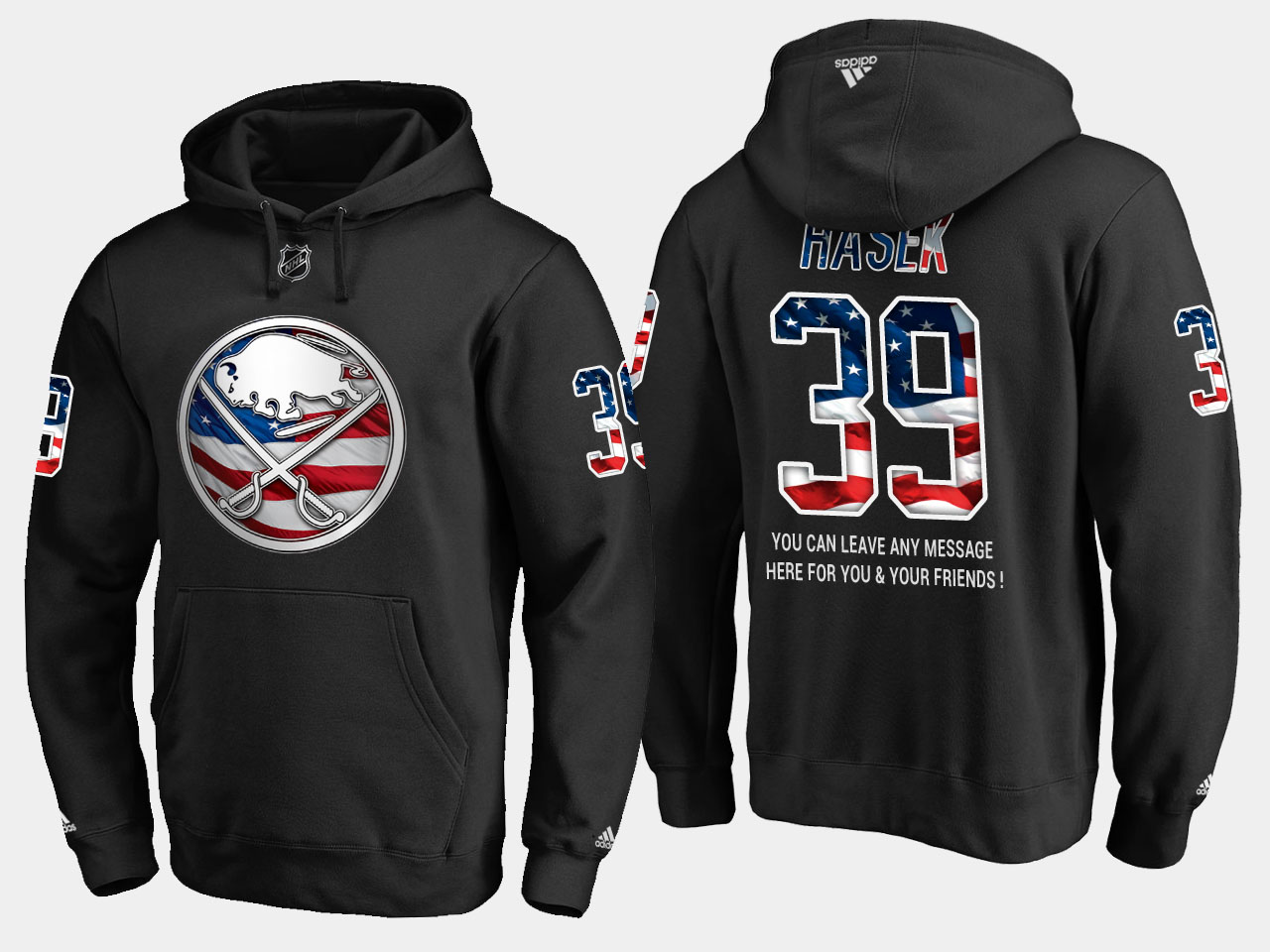 Sabres #39 Dominik Hasek NHL Banner Wave Usa Flag Black Hoodie