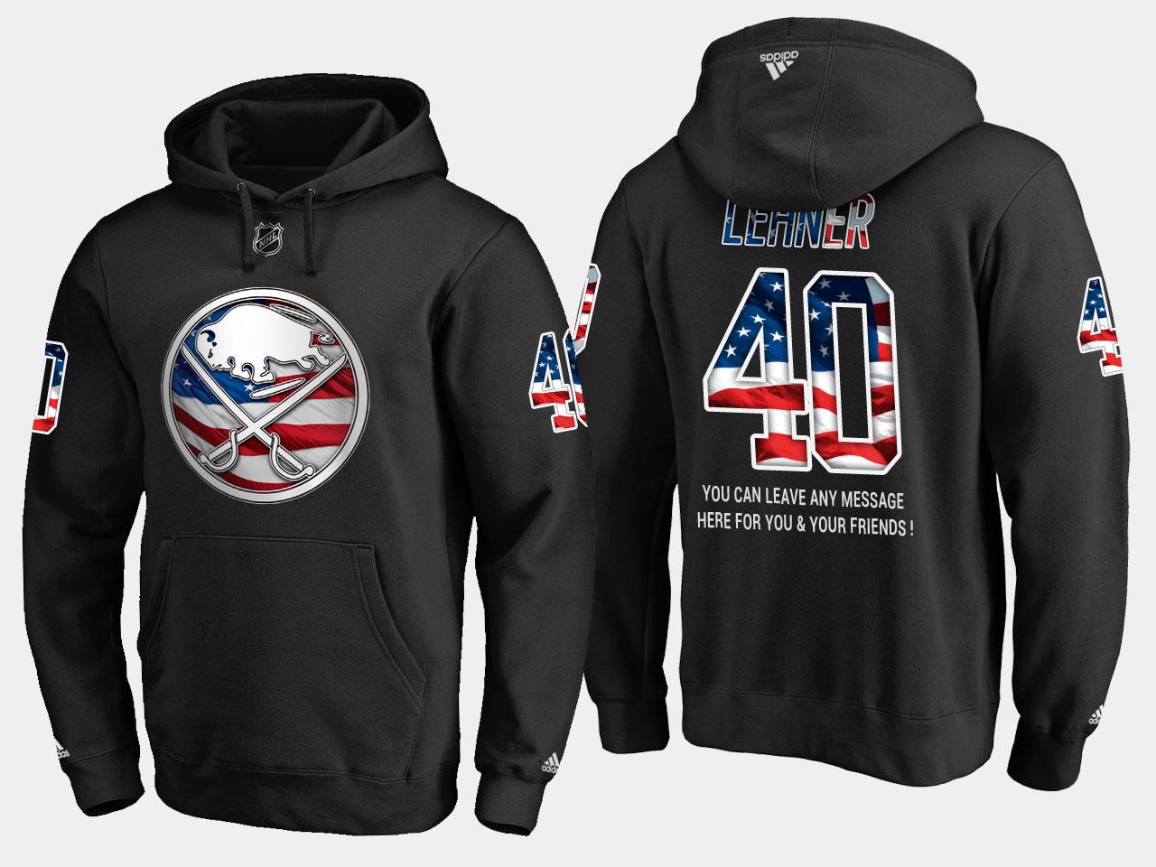 Sabres #40 Robin Lehner NHL Banner Wave Usa Flag Black Hoodie