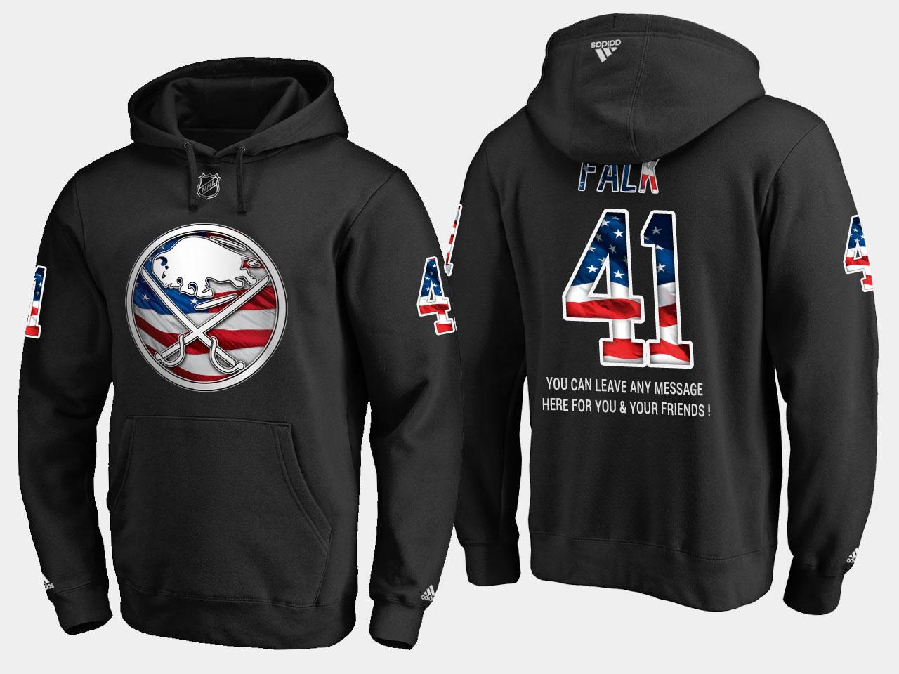 Sabres #41 Justin Falk NHL Banner Wave Usa Flag Black Hoodie