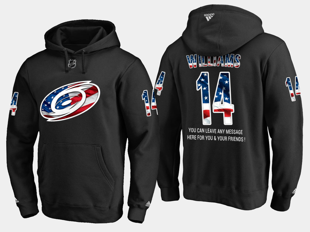 Hurricanes #14 Justin Williams NHL Banner Wave Usa Flag Black Hoodie