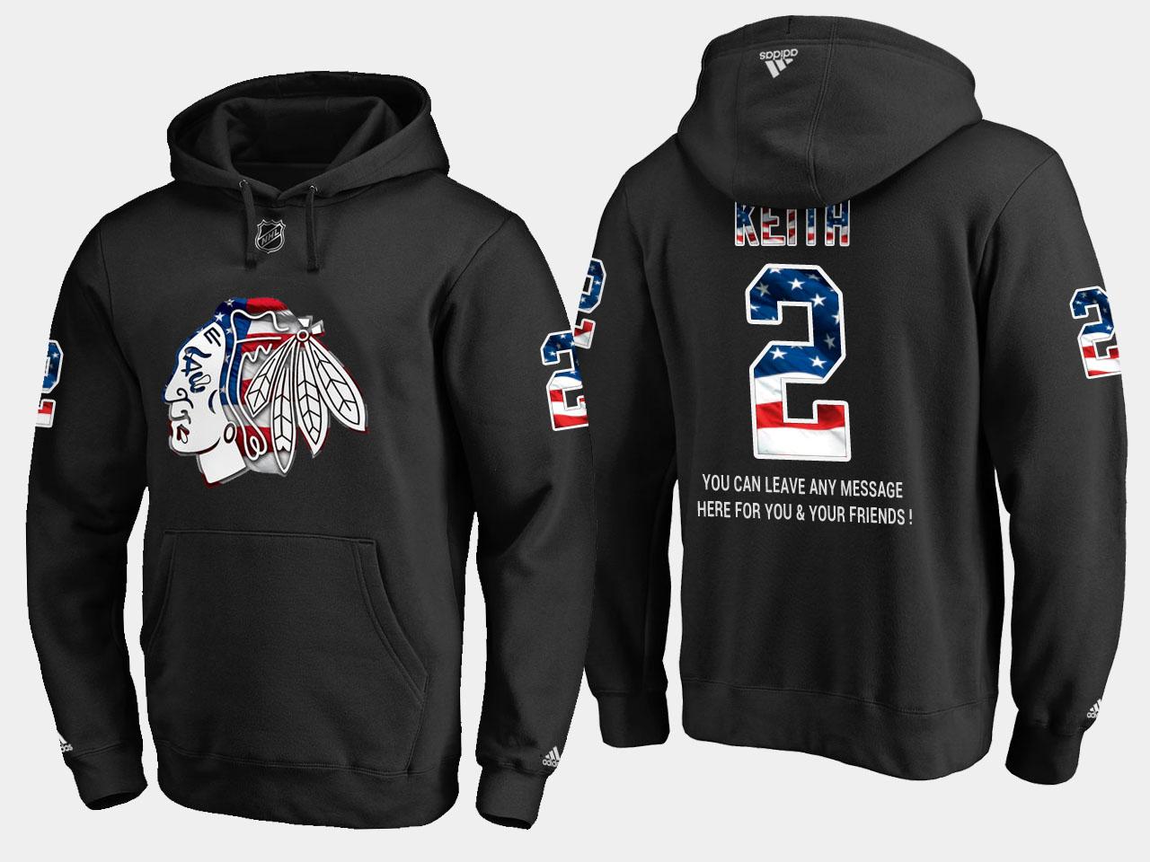 Blackhawks #2 Duncan Keith NHL Banner Wave Usa Flag Black Hoodie