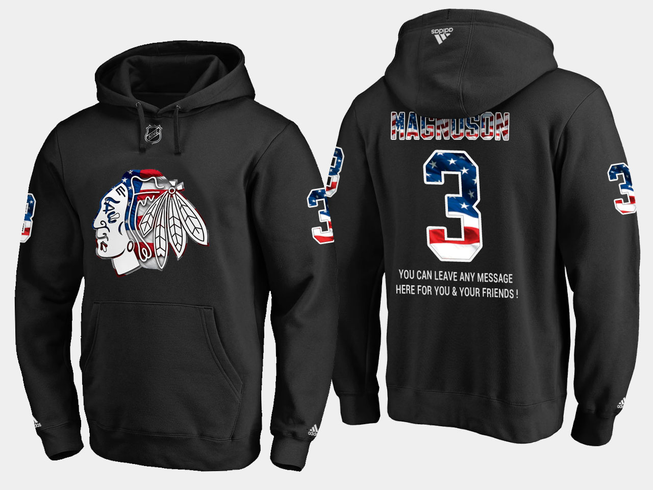 Blackhawks #3 Keith Magnuson NHL Banner Wave Usa Flag Black Hoodie