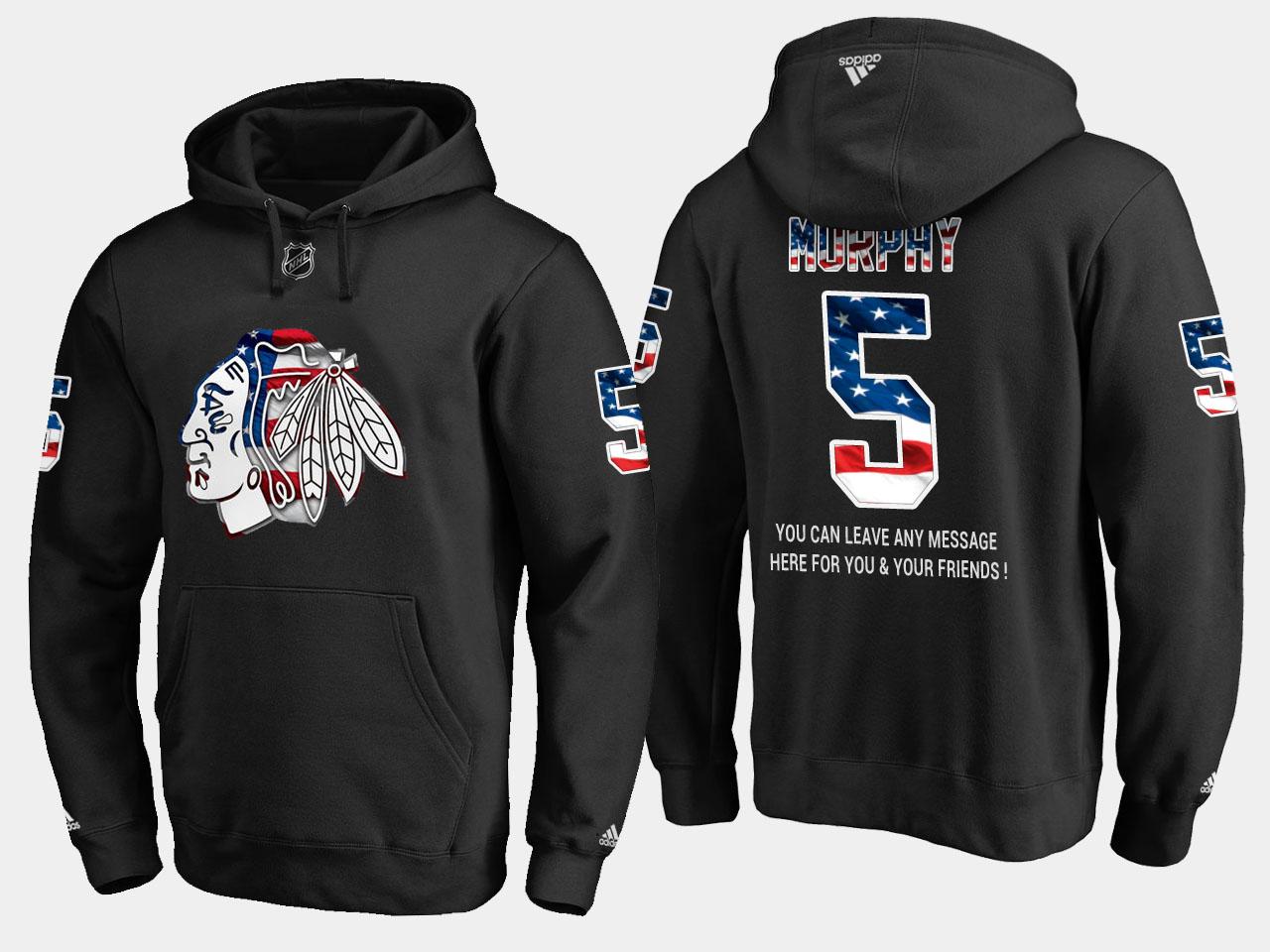 Blackhawks #5 Connor Murphy NHL Banner Wave Usa Flag Black Hoodie