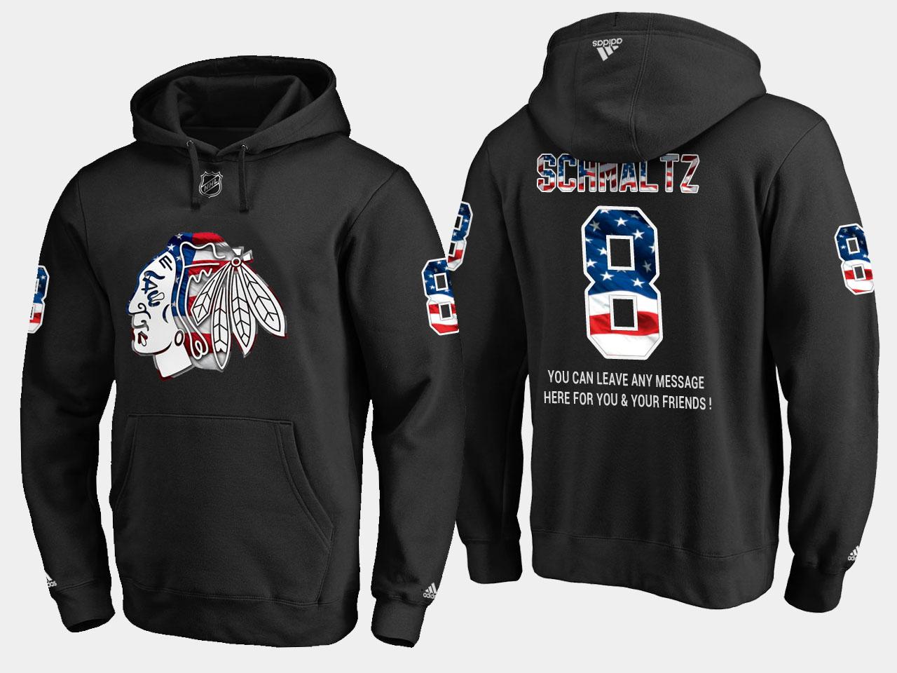Blackhawks #8 Nick Schmaltz NHL Banner Wave Usa Flag Black Hoodie