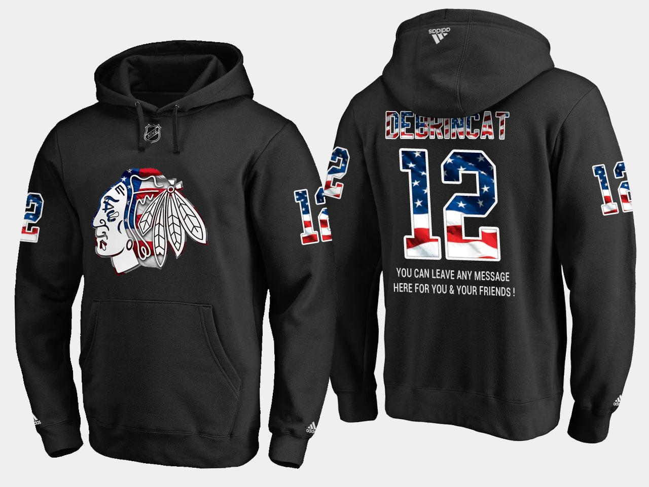 Blackhawks #12 Alex Debrincat NHL Banner Wave Usa Flag Black Hoodie