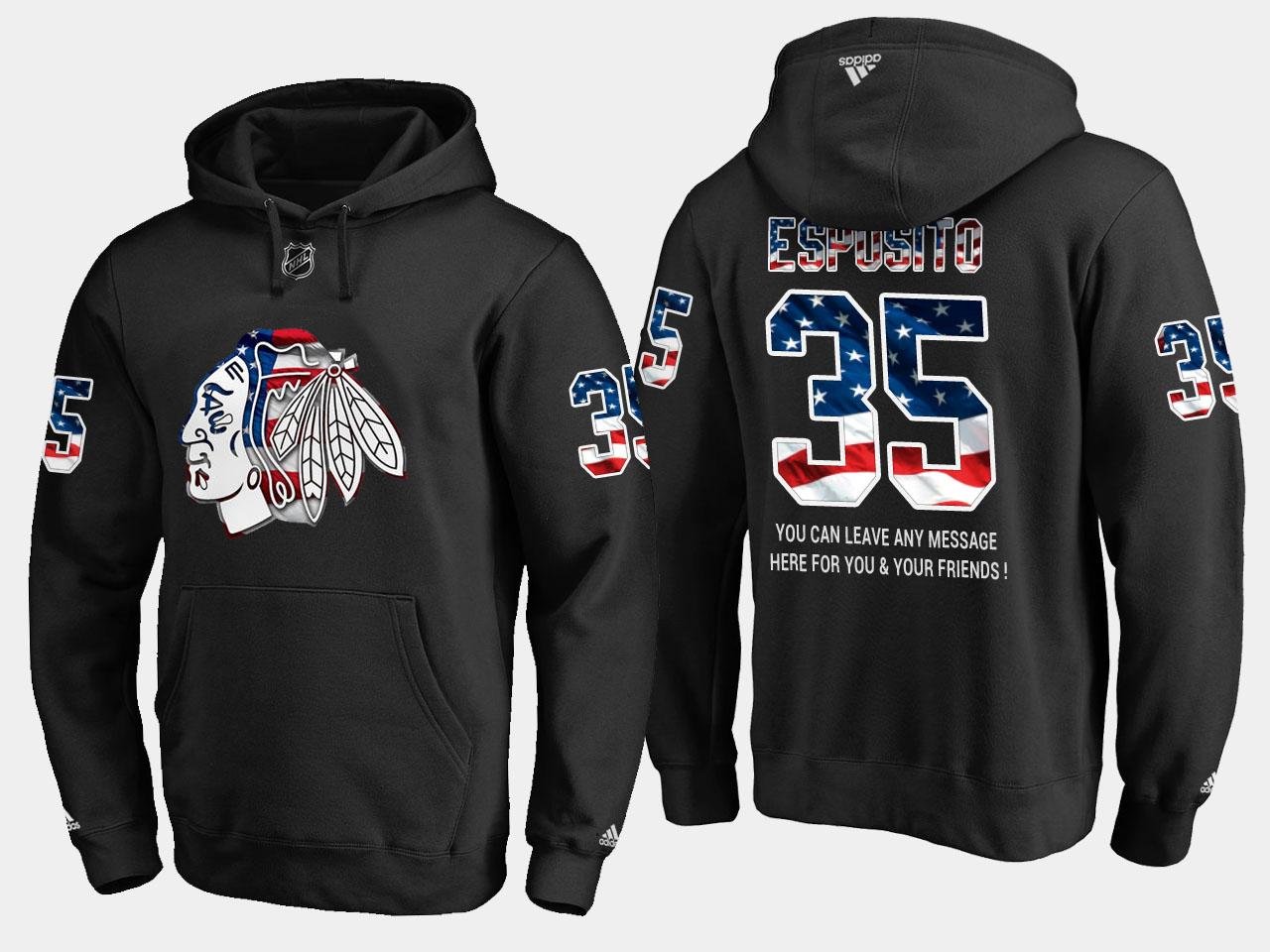 Blackhawks #35 Tony Esposito NHL Banner Wave Usa Flag Black Hoodie