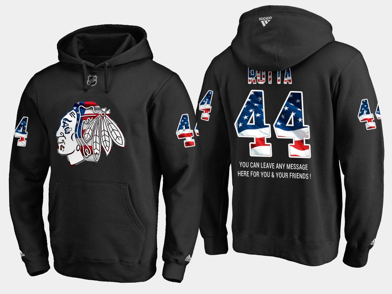 Blackhawks #44 Jan Rutta NHL Banner Wave Usa Flag Black Hoodie