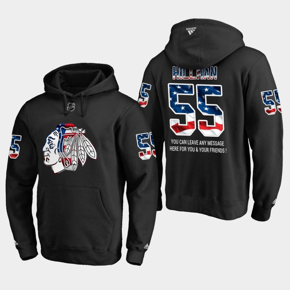 Blackhawks #55 Blake Hillman NHL Banner Wave Usa Flag Black Hoodie