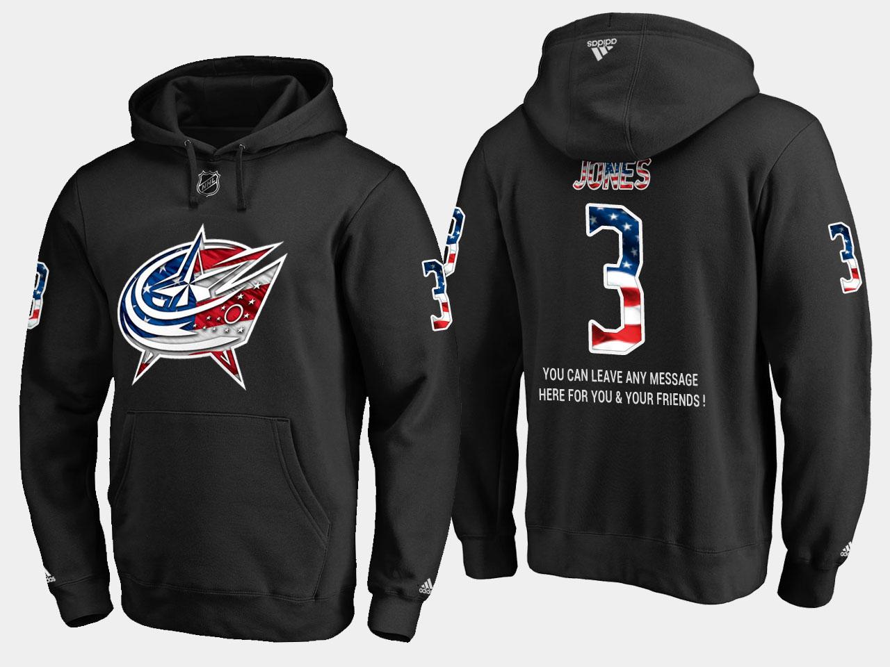 Blue Jackets #3 Seth Jones NHL Banner Wave Usa Flag Black Hoodie