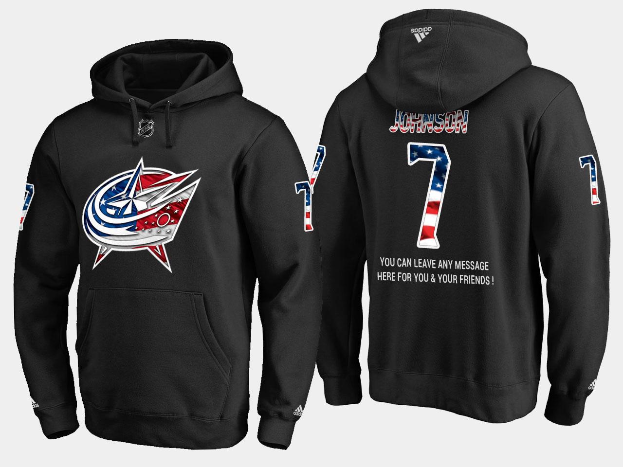 Blue Jackets #7 Jack Johnson NHL Banner Wave Usa Flag Black Hoodie