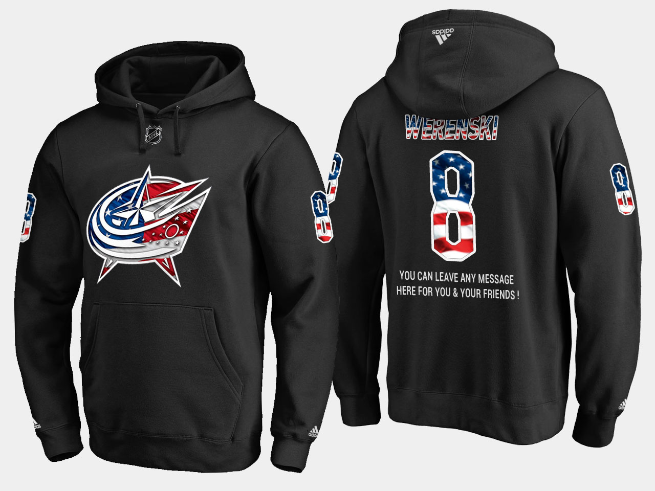 Blue Jackets #8 Zach Werenski NHL Banner Wave Usa Flag Black Hoodie
