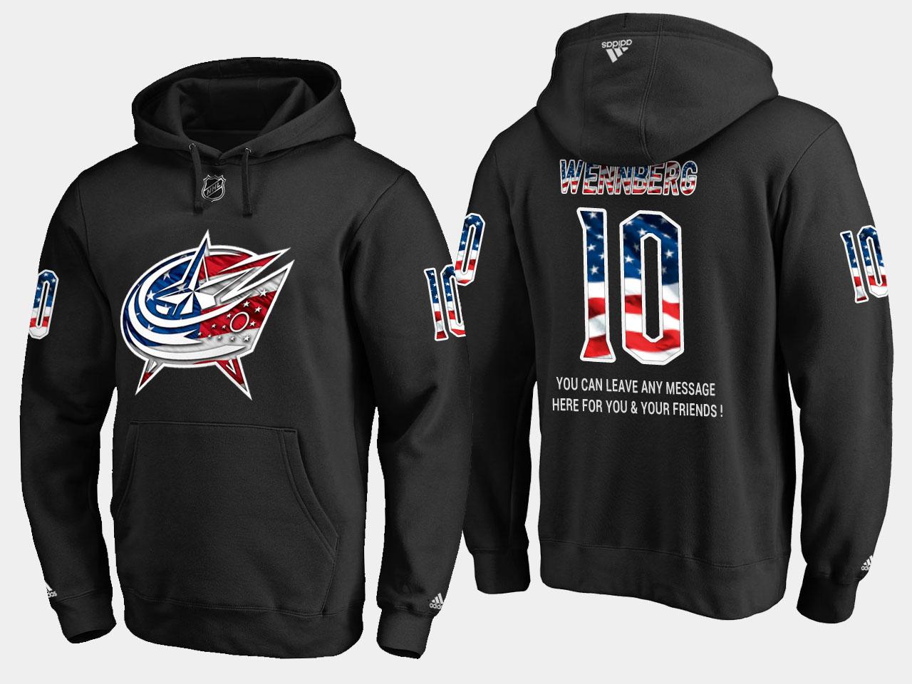 Blue Jackets #10 Alexander Wennberg NHL Banner Wave Usa Flag Black Hoodie