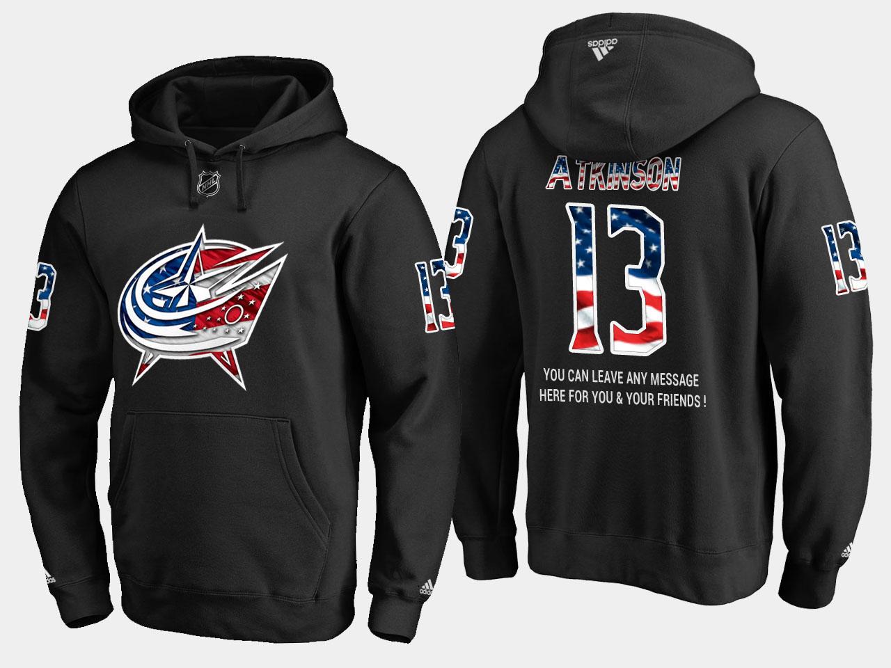 Blue Jackets #13 Cam Atkinson NHL Banner Wave Usa Flag Black Hoodie