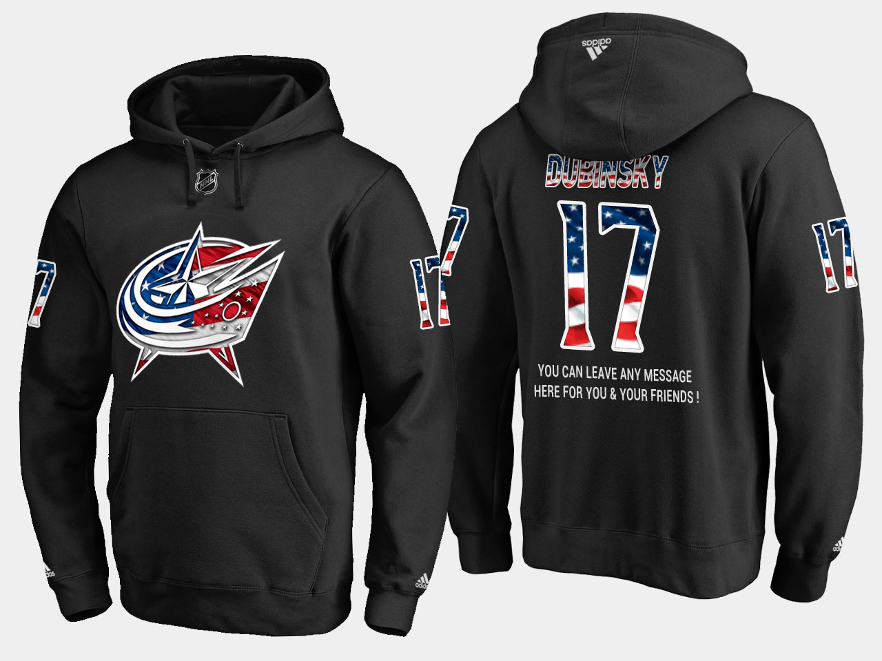 Blue Jackets #17 Brandon Dubinsky NHL Banner Wave Usa Flag Black Hoodie