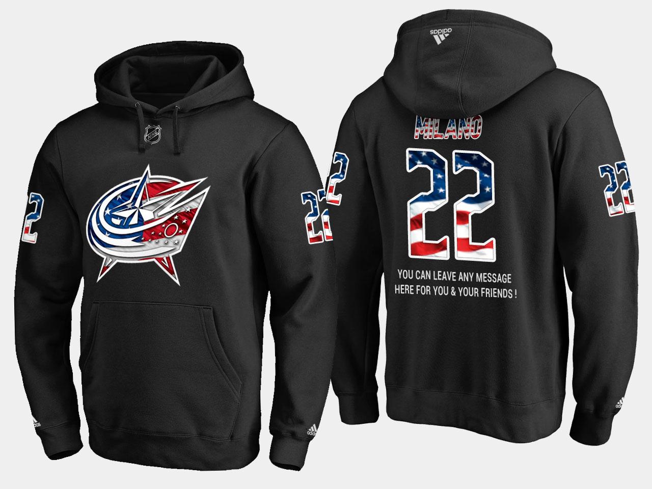 Blue Jackets #22 Sonny Milano NHL Banner Wave Usa Flag Black Hoodie