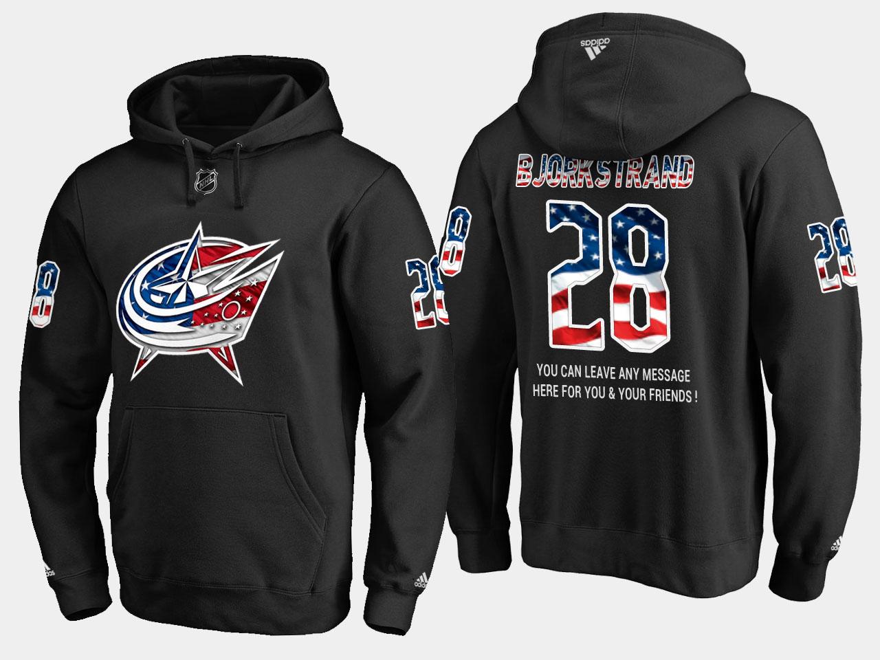 Blue Jackets #28 Oliver Bjorkstrand NHL Banner Wave Usa Flag Black Hoodie