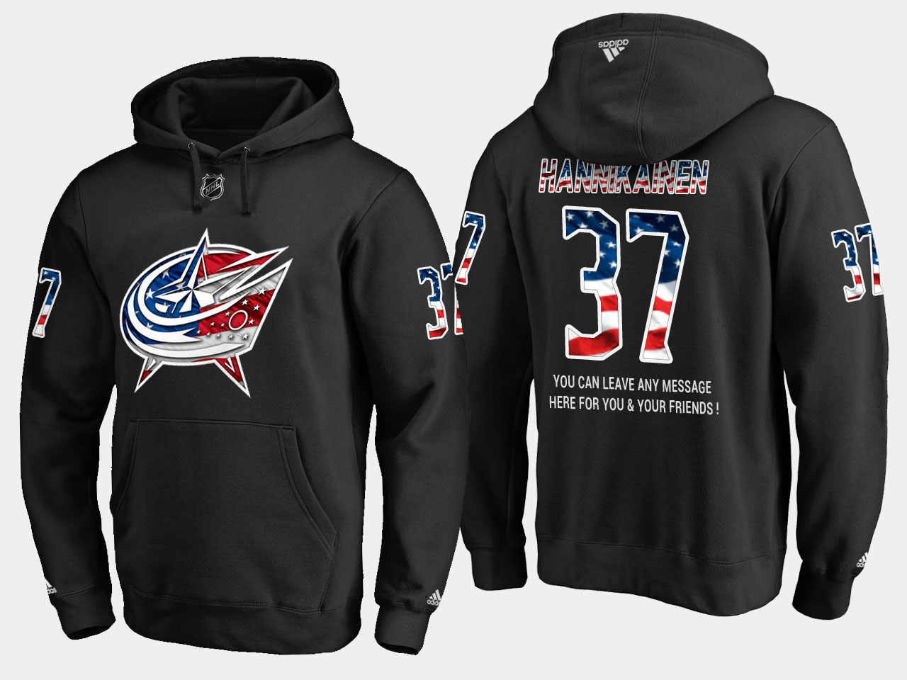 Blue Jackets #37 Markus Hannikainen NHL Banner Wave Usa Flag Black Hoodie