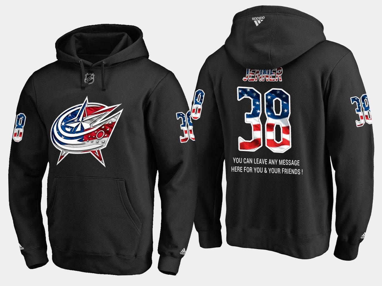 Blue Jackets #38 Boone Jenner NHL Banner Wave Usa Flag Black Hoodie