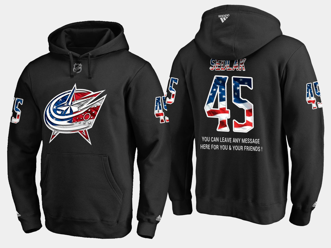 Blue Jackets #45 Lukas Sedlak NHL Banner Wave Usa Flag Black Hoodie
