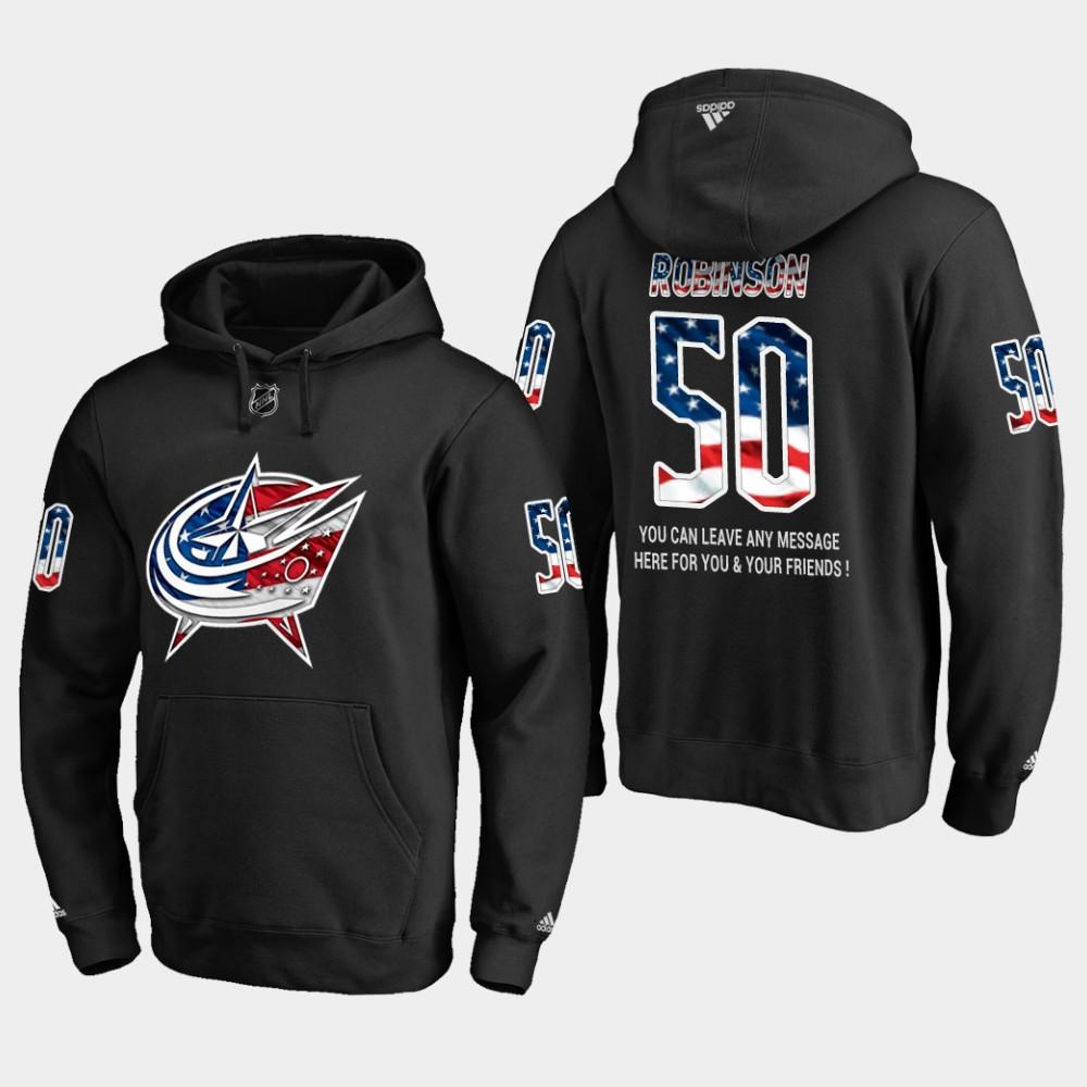 Blue Jackets #50 Eric Robinson NHL Banner Wave Usa Flag Black Hoodie