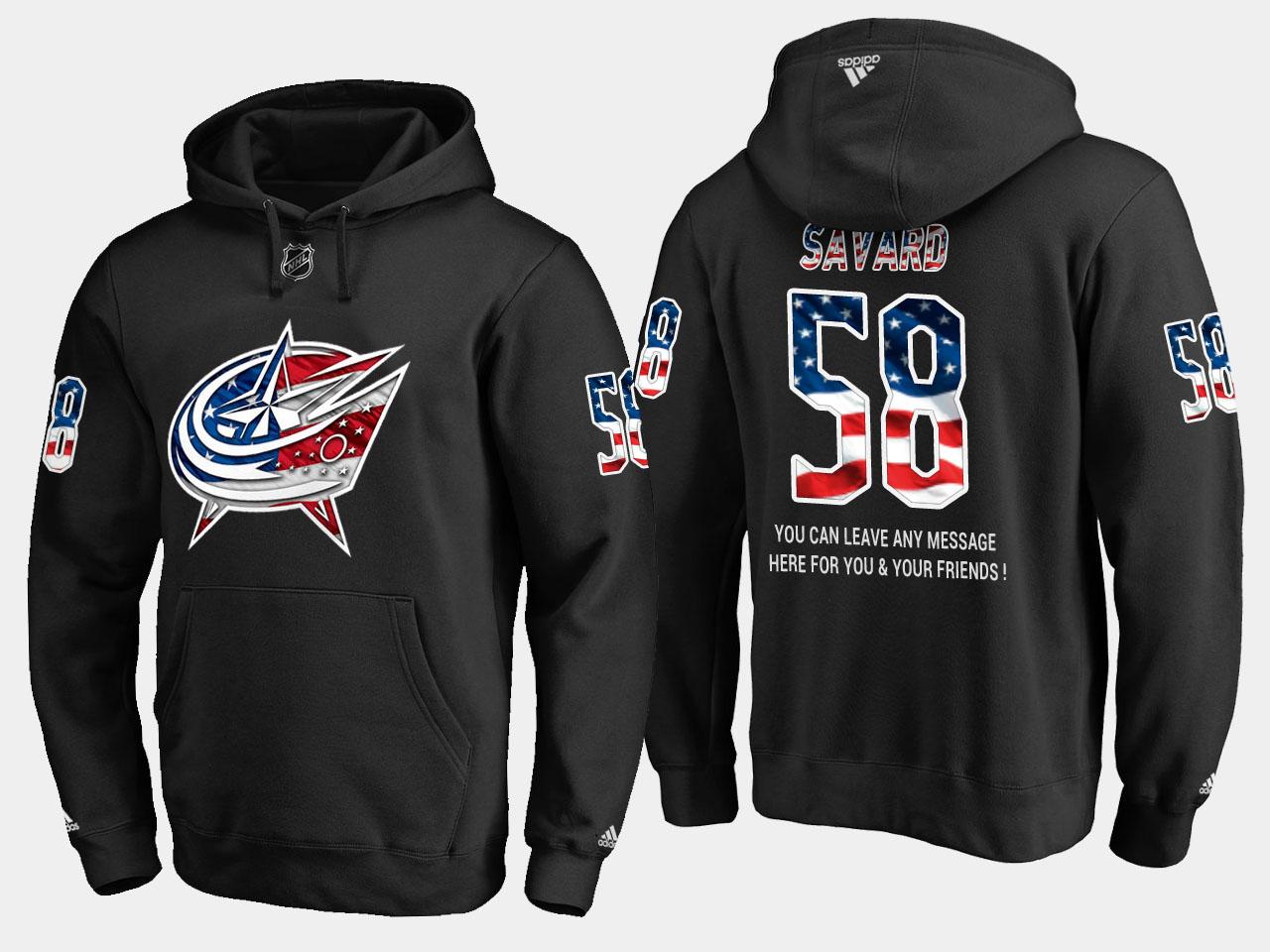 Blue Jackets #58 David Savard NHL Banner Wave Usa Flag Black Hoodie