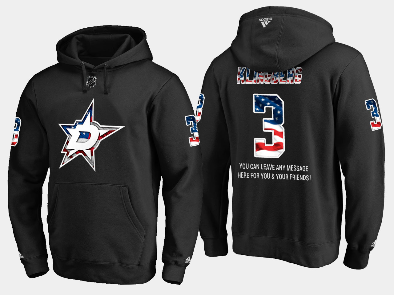 Stars #3 John Klingberg NHL Banner Wave Usa Flag Black Hoodie