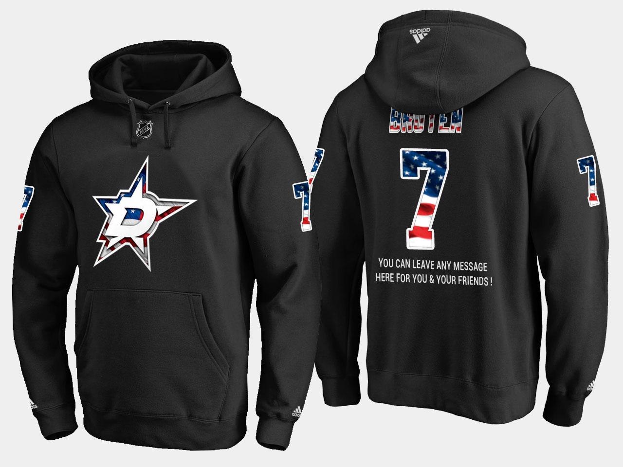 Stars #7 Neal Broten NHL Banner Wave Usa Flag Black Hoodie