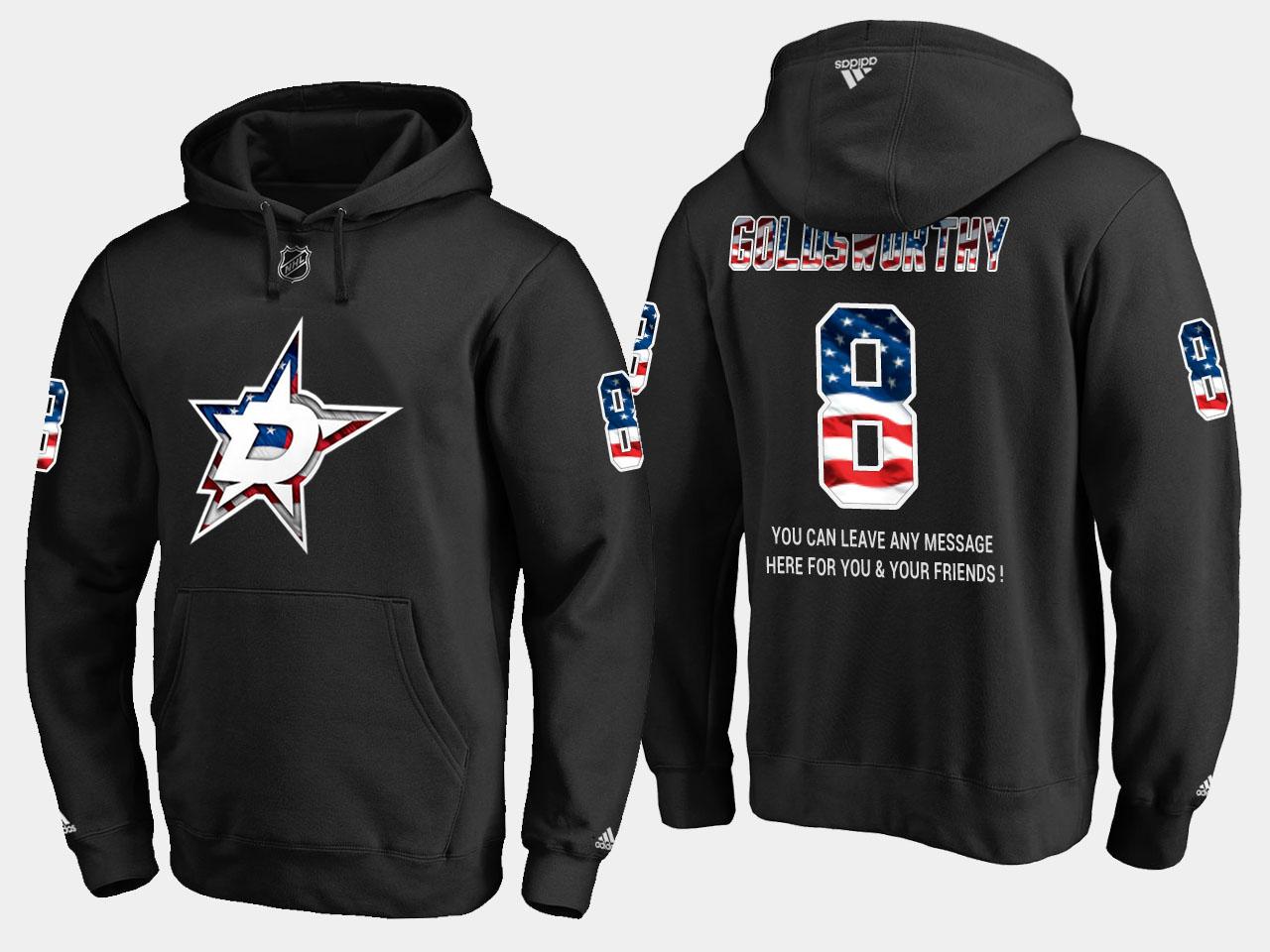 Stars #8 Bill Goldsworthy NHL Banner Wave Usa Flag Black Hoodie