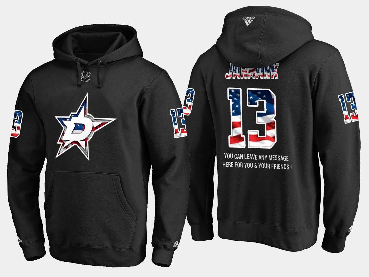 Stars #13 Mattias Janmark NHL Banner Wave Usa Flag Black Hoodie