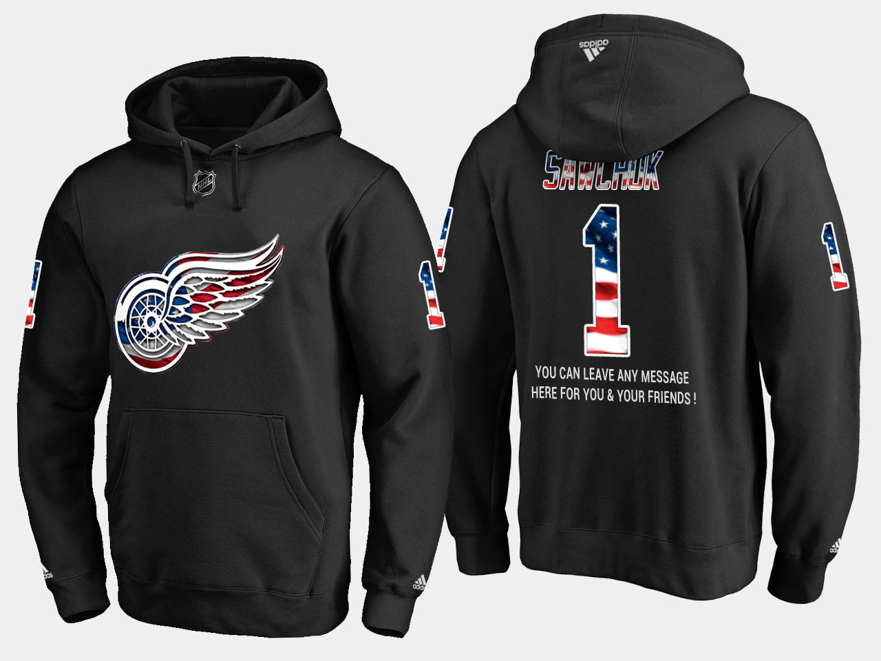 Red Wings #1 Terry Sawchuk NHL Banner Wave Usa Flag Black Hoodie