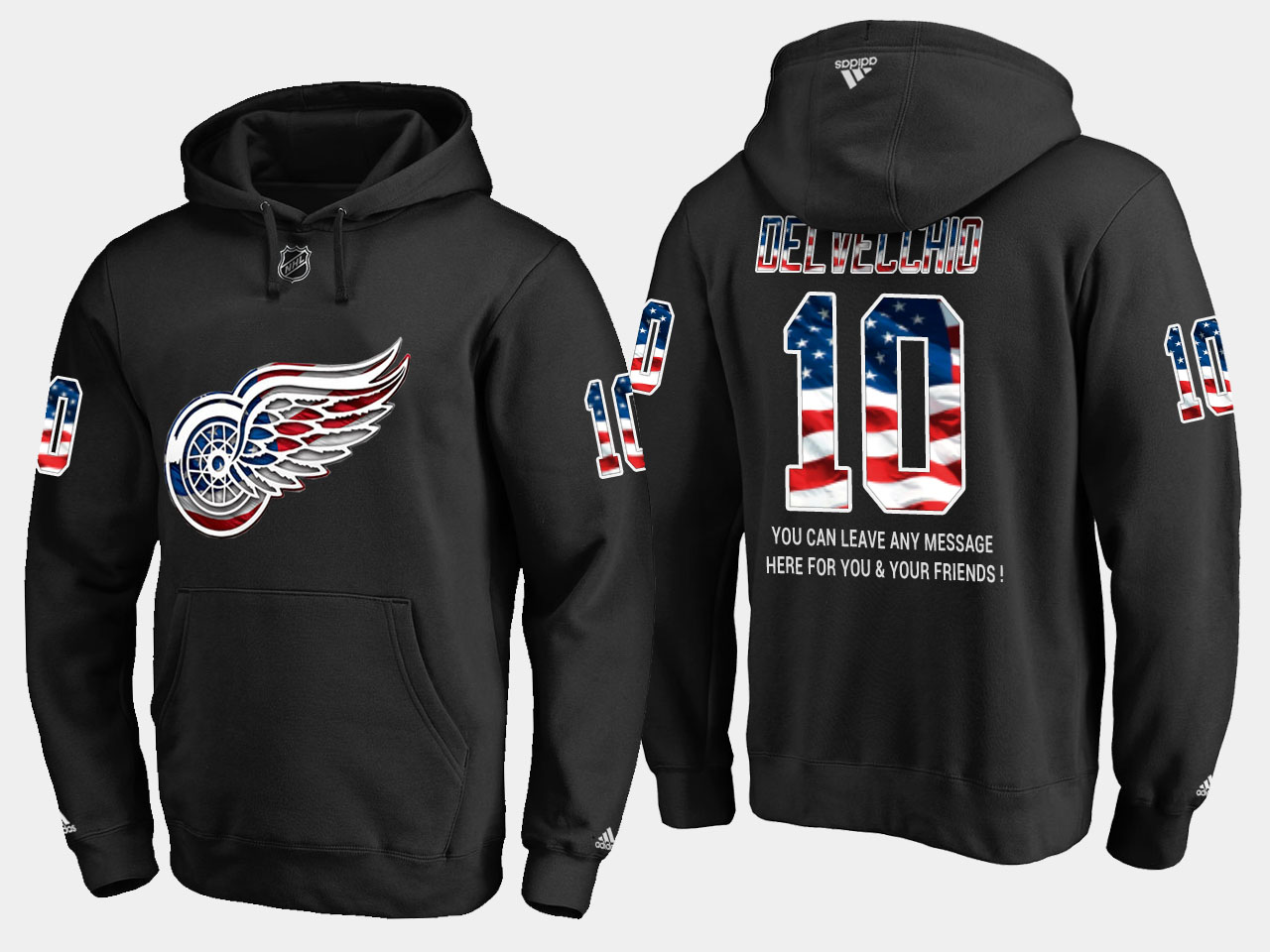 Red Wings #10 Alex Delvecchio NHL Banner Wave Usa Flag Black Hoodie