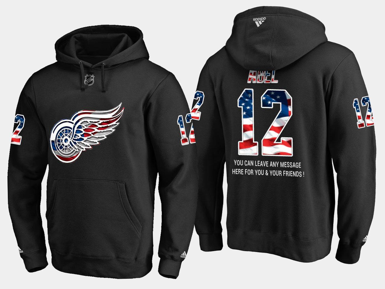 Red Wings #12 Sid Abel NHL Banner Wave Usa Flag Black Hoodie