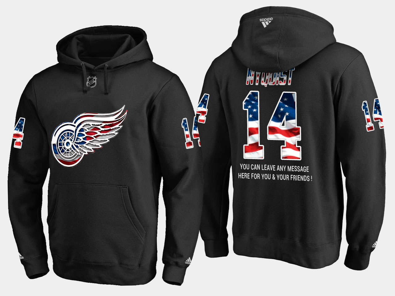 Red Wings #14 Gustav Nyquist NHL Banner Wave Usa Flag Black Hoodie