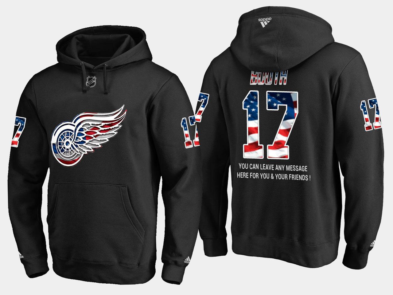 Red Wings #17 David Booth NHL Banner Wave Usa Flag Black Hoodie