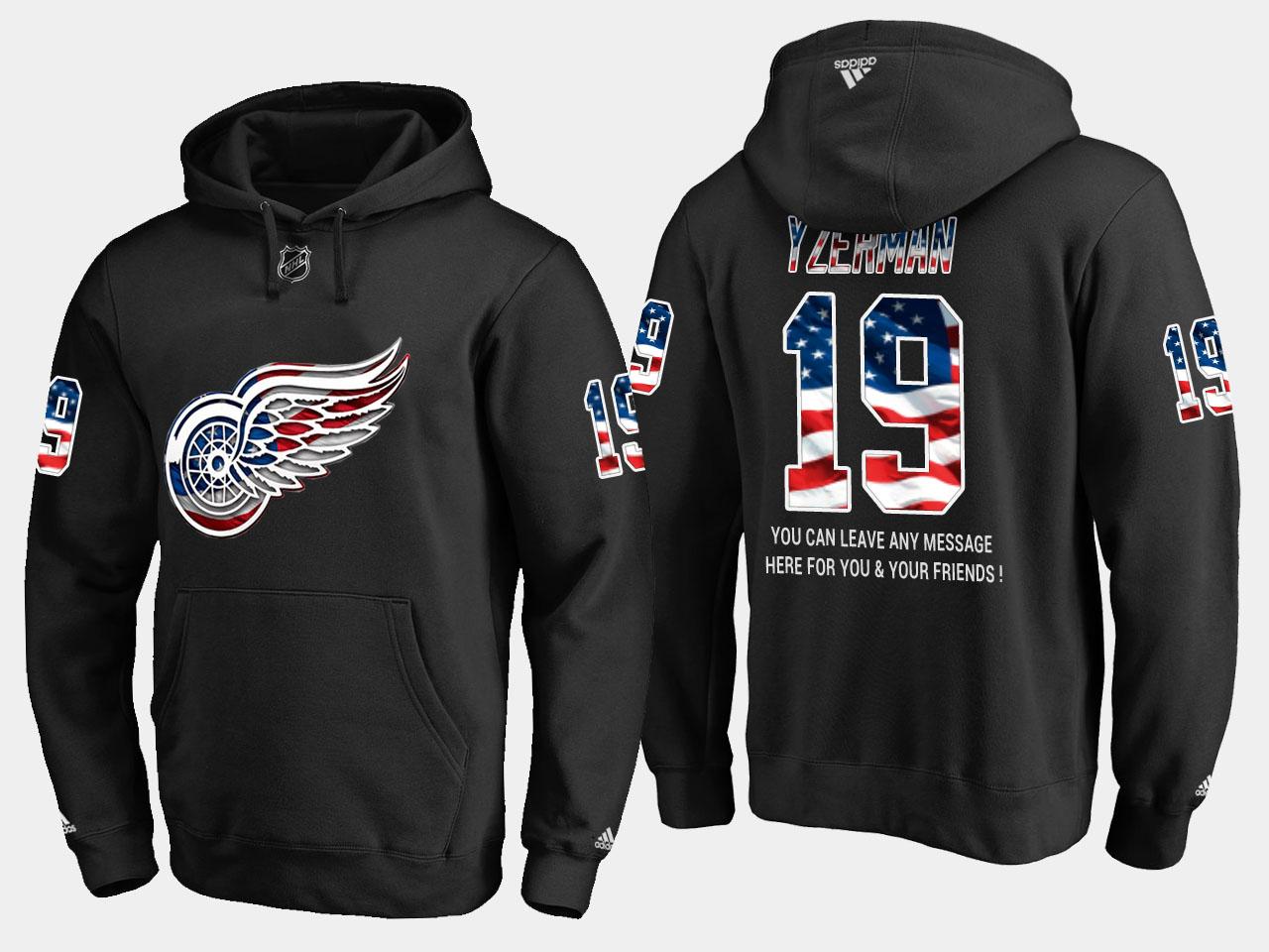 Red Wings #19 Steve Yzerman NHL Banner Wave Usa Flag Black Hoodie
