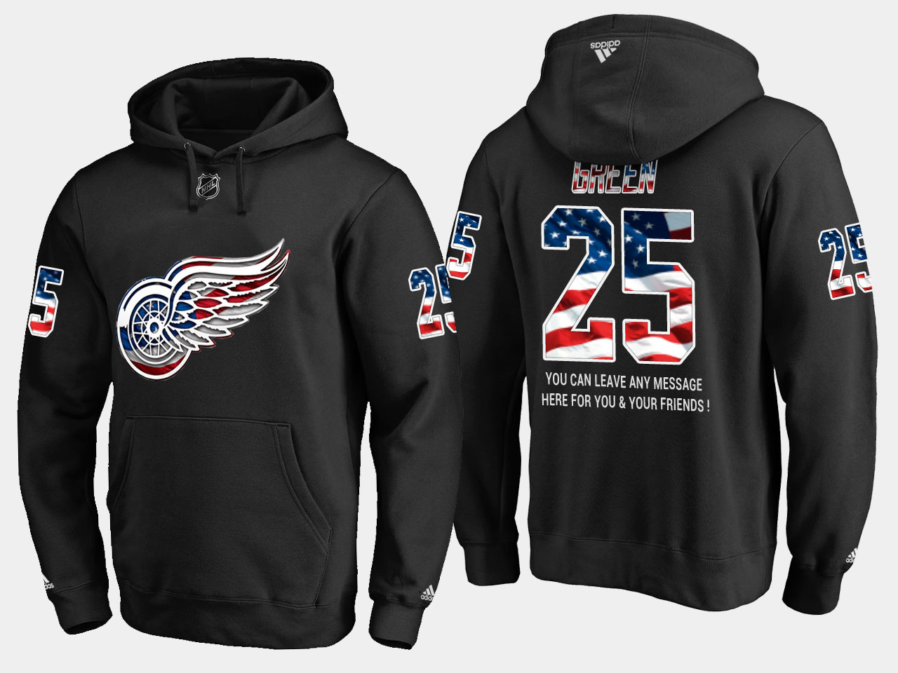 Red Wings #25 Mike Green NHL Banner Wave Usa Flag Black Hoodie