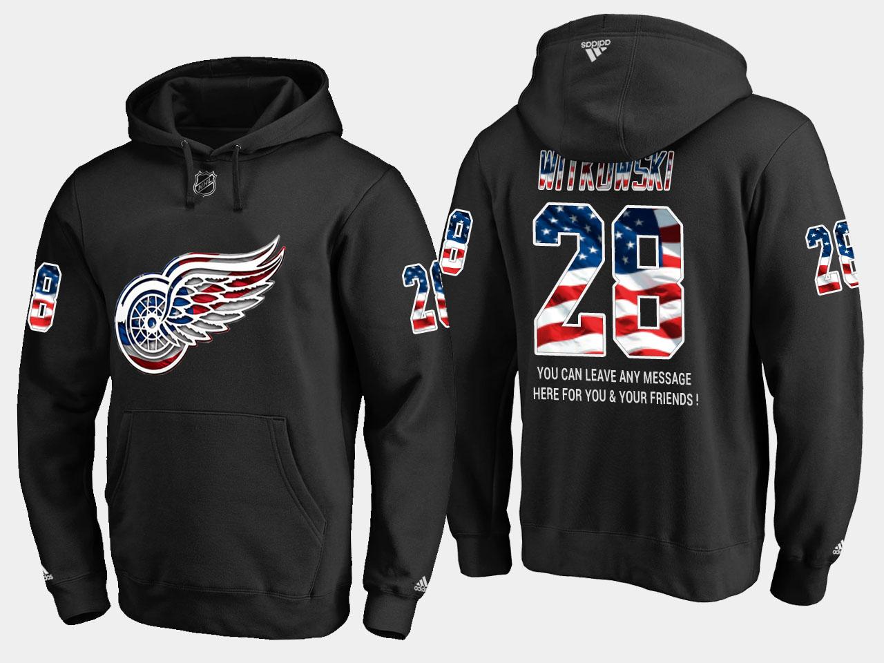 Red Wings #28 Luke Witkowski NHL Banner Wave Usa Flag Black Hoodie