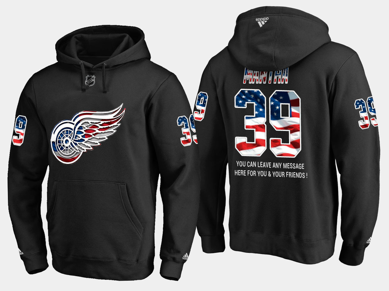 Red Wings #39 Anthony Mantha NHL Banner Wave Usa Flag Black Hoodie