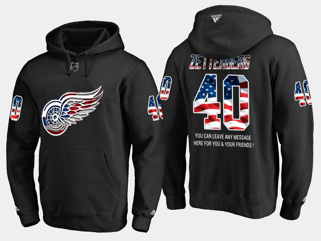 Red Wings #40 Henrik Zetterberg NHL Banner Wave Usa Flag Black Hoodie