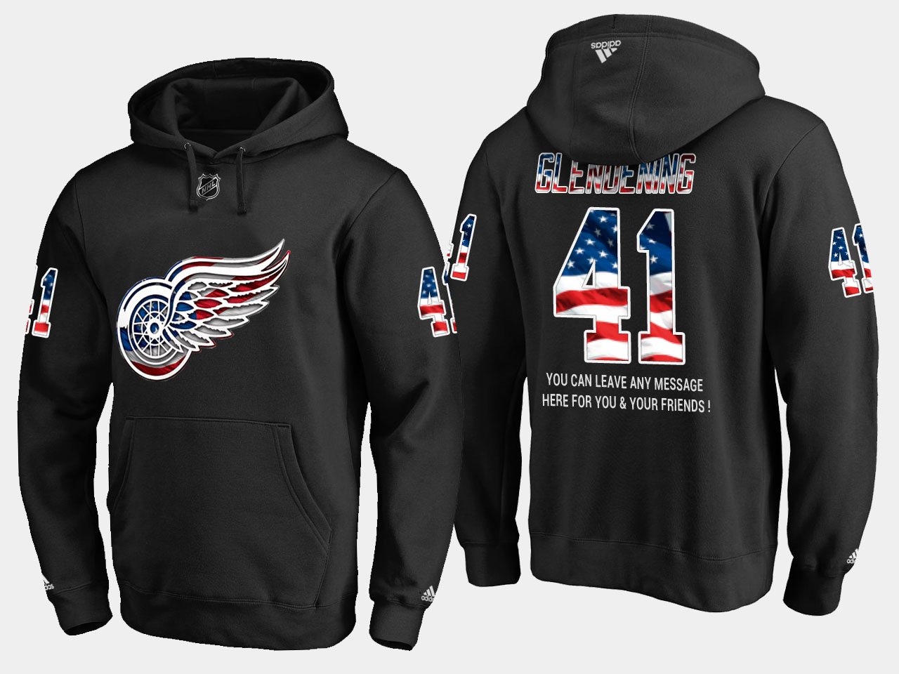 Red Wings #41 Luke Glendening NHL Banner Wave Usa Flag Black Hoodie