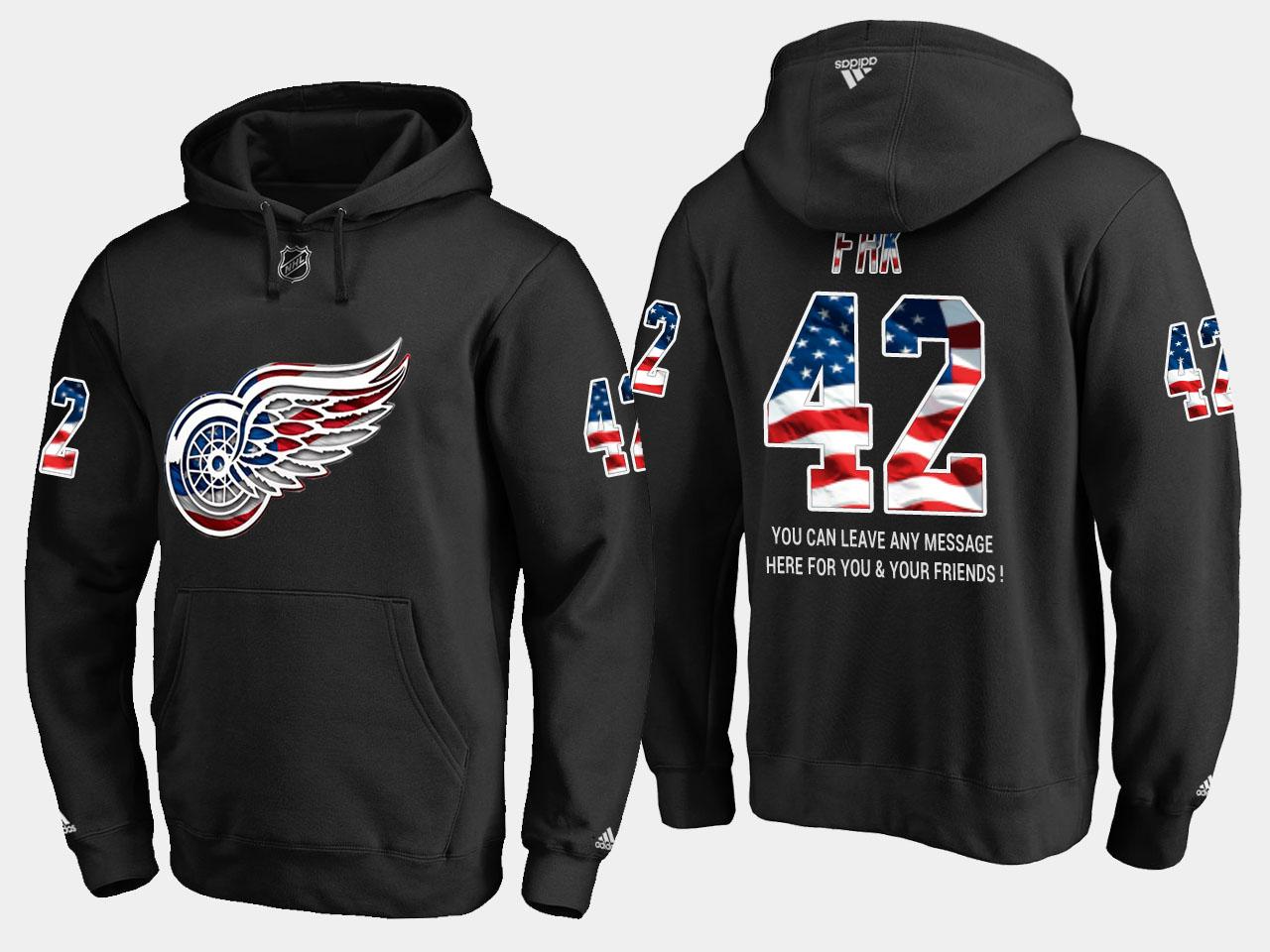 Red Wings #42 Martin Frk NHL Banner Wave Usa Flag Black Hoodie