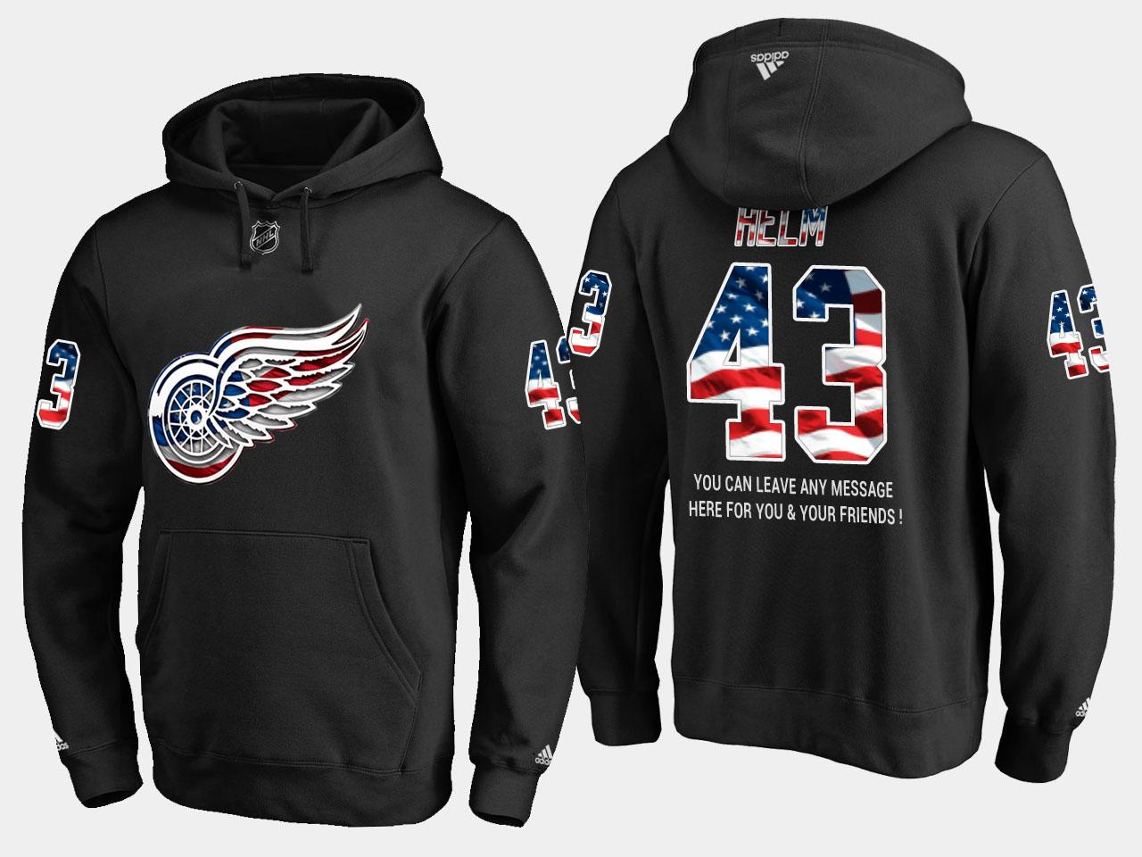 Red Wings #43 Darren Helm NHL Banner Wave Usa Flag Black Hoodie