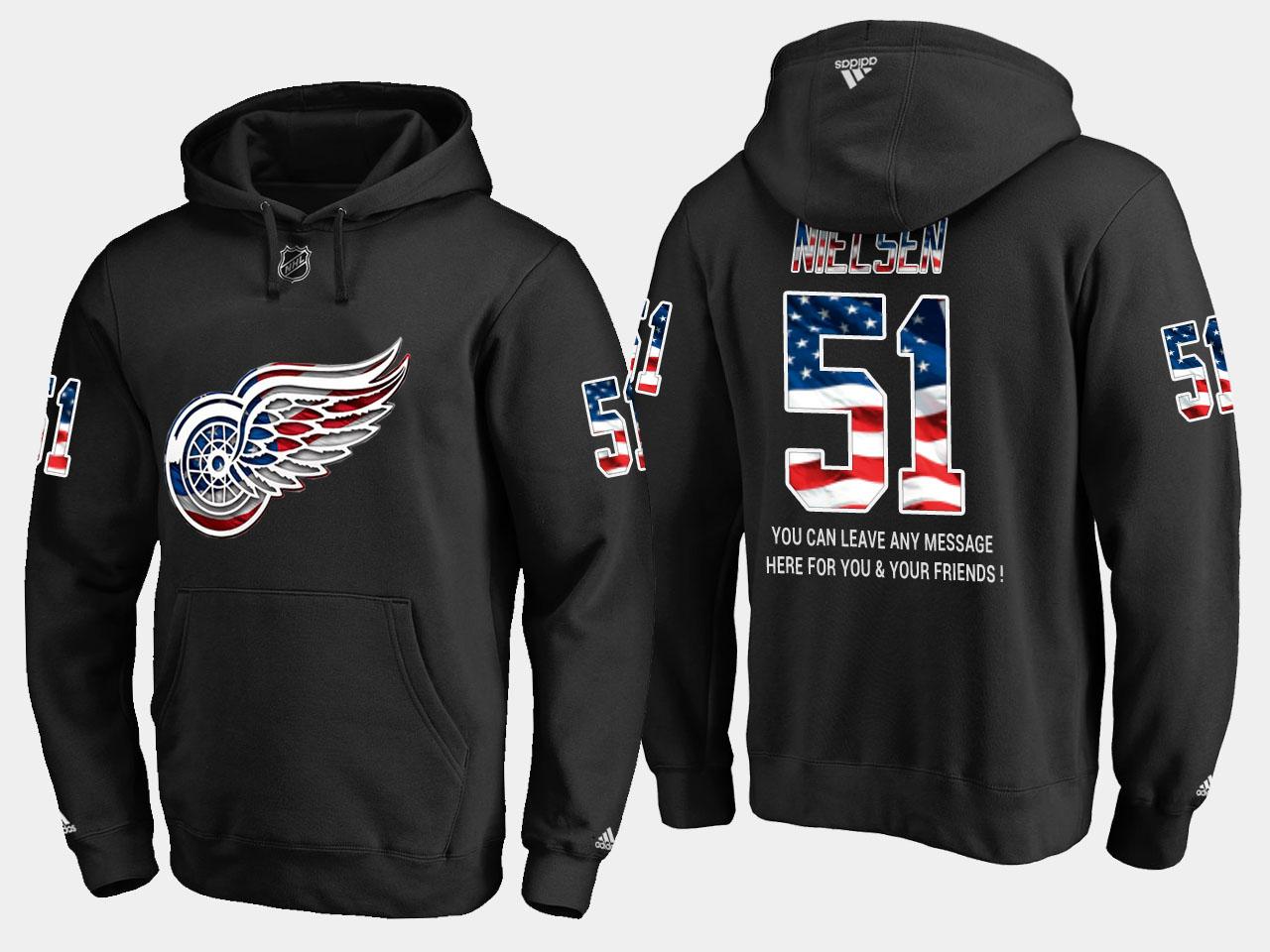 Red Wings #51 Frans Nielsen NHL Banner Wave Usa Flag Black Hoodie