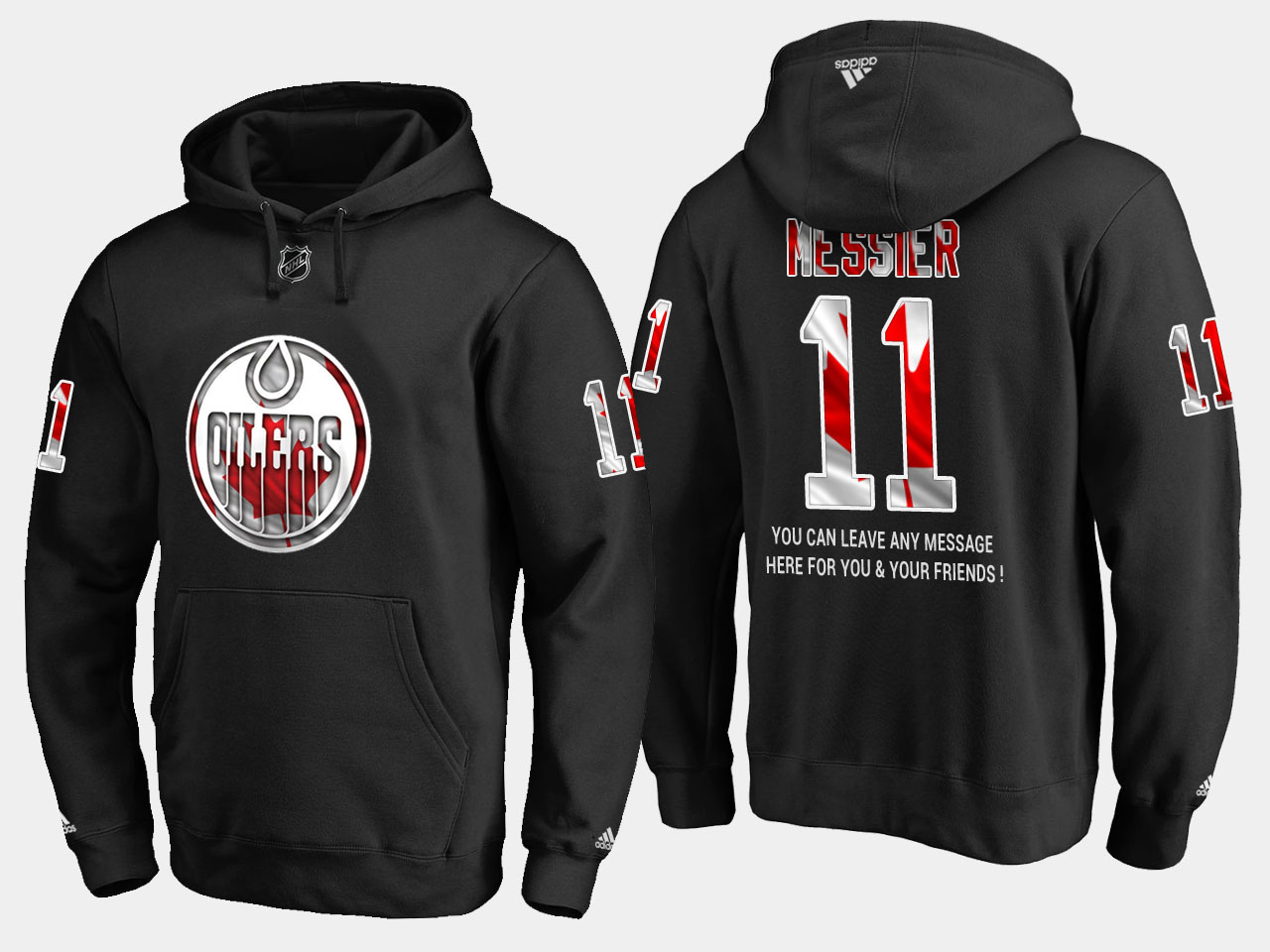 Oilers #11 Mark Messier NHL Banner Wave Usa Flag Black Hoodie